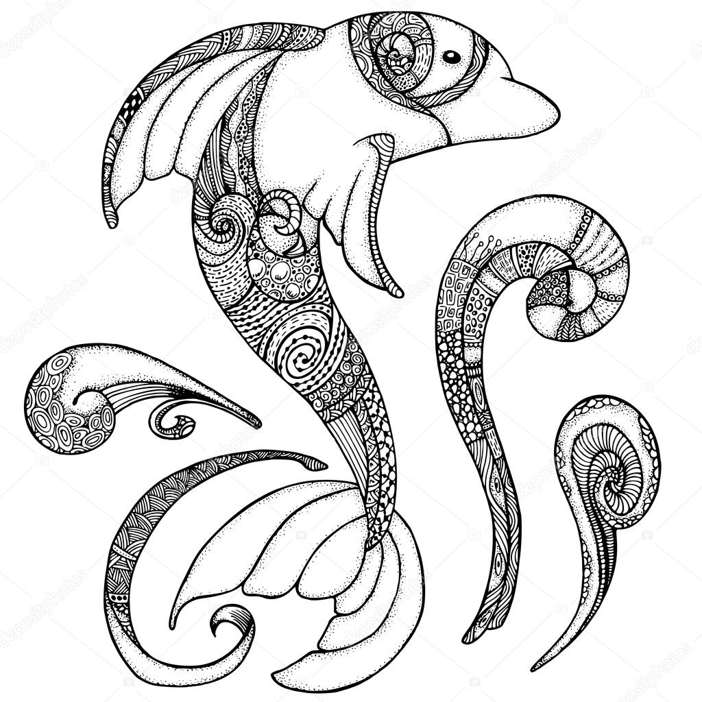 Coloriage Animaux Totem.Zentangle Dauphin Stylisee Adulte Anti Stress Coloring Page Image