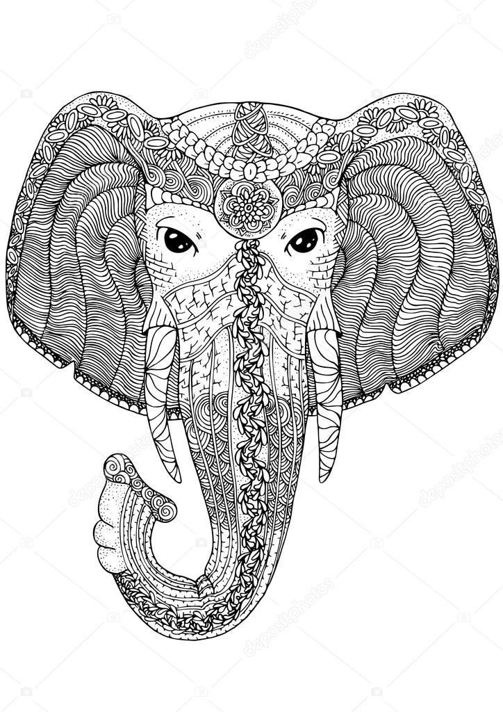 Coloriage Animaux Totem.Page De Livre De Coloriage Pour Les Adultes Elephant Image
