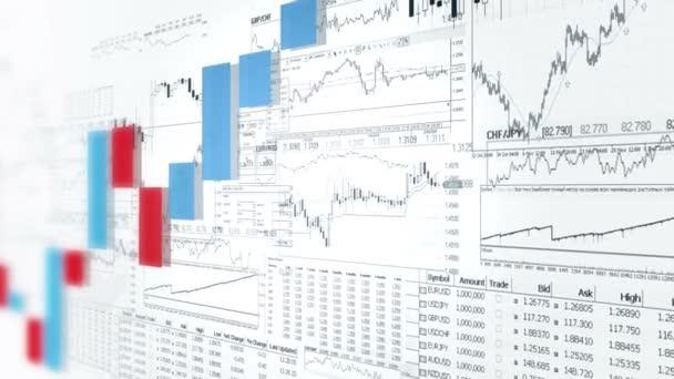 Financovat pruhové grafy. Tržní analýza. Business analytics pozadí. Červená a modrá