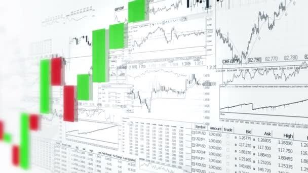 Financovat pruhové grafy. Tržní analýza. Business analytics pozadí. Červená a zelená