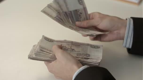 podnikatel počítá peníze v rukou.