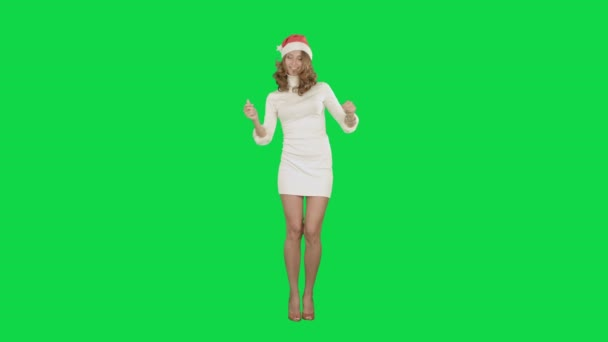 Vánoční dívka v santa hat tanec rád, směje se baví na klíč Chrome Green Screen