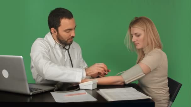 Doctor and patient with blood pressure meter in a hospital on a Green Screen, Chroma Key