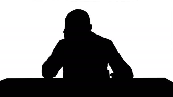 Silhouette Tired overworked doctor in hospital track matte