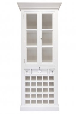 White cupboard with glass doors