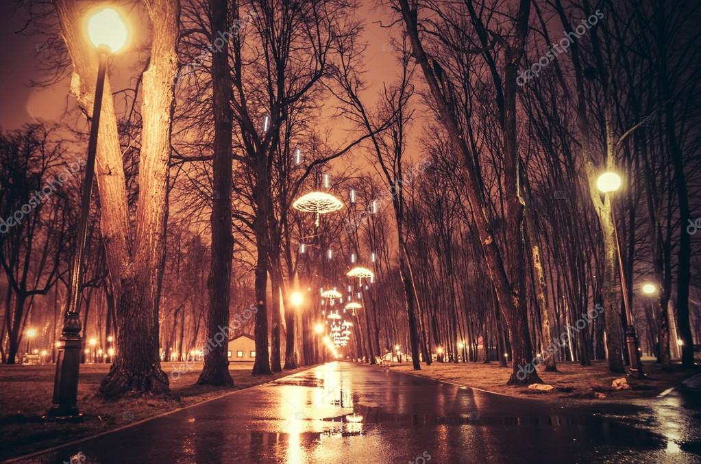 Alley of Kharkiv in night lights. Photo in vintage multicolor