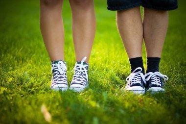 feet, sneakers, grass