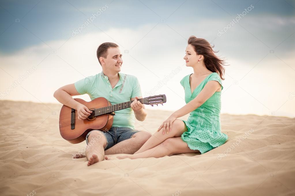 beach, couple, guitar, sand