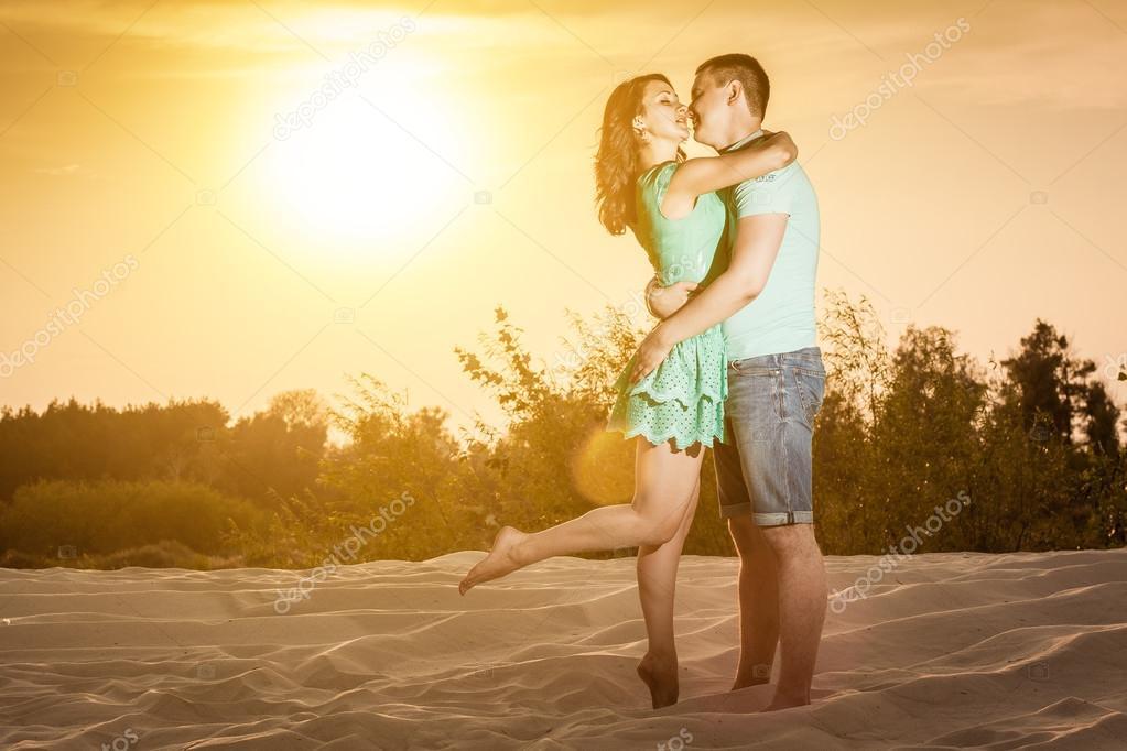couple, sunset, hugs