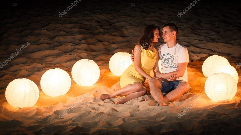 beach, romance, light, couple