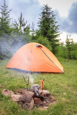 Tent near the fire