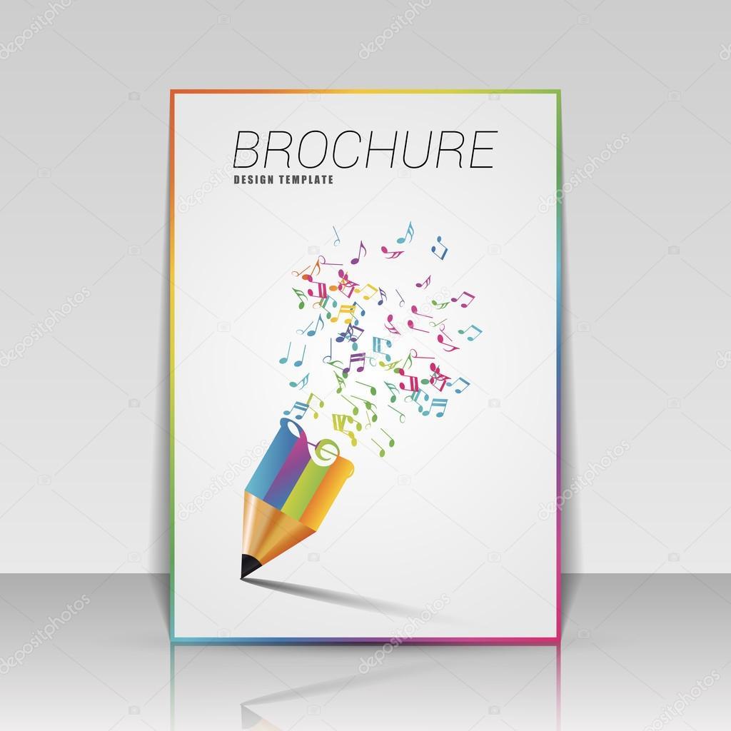 Musik-Broschüre-Vorlage mit Bleistift. Vektor-illustration ...