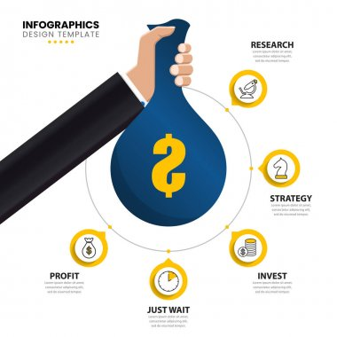 Infographic design template. Investment concept with 5 steps. Can be used for workflow layout, diagram, banner, webdesign. Vector illustration icon