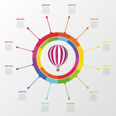 Infographic template. Colorful circle with hot air balloon.