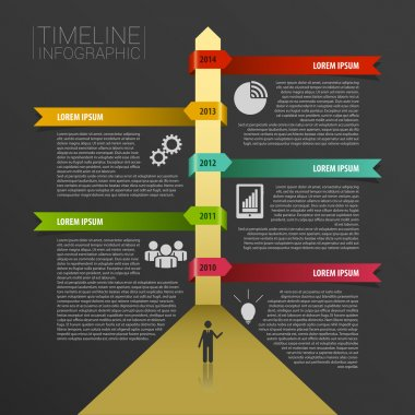 Timeline infographics, elements with icons. Vector black