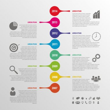 Flat colorful abstract timeline infographics vector