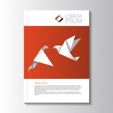 Vector design color flyer with origami birds. brochure template