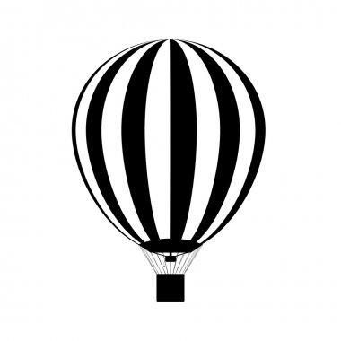 Hot air balloon in the sky. silhouette. Vector