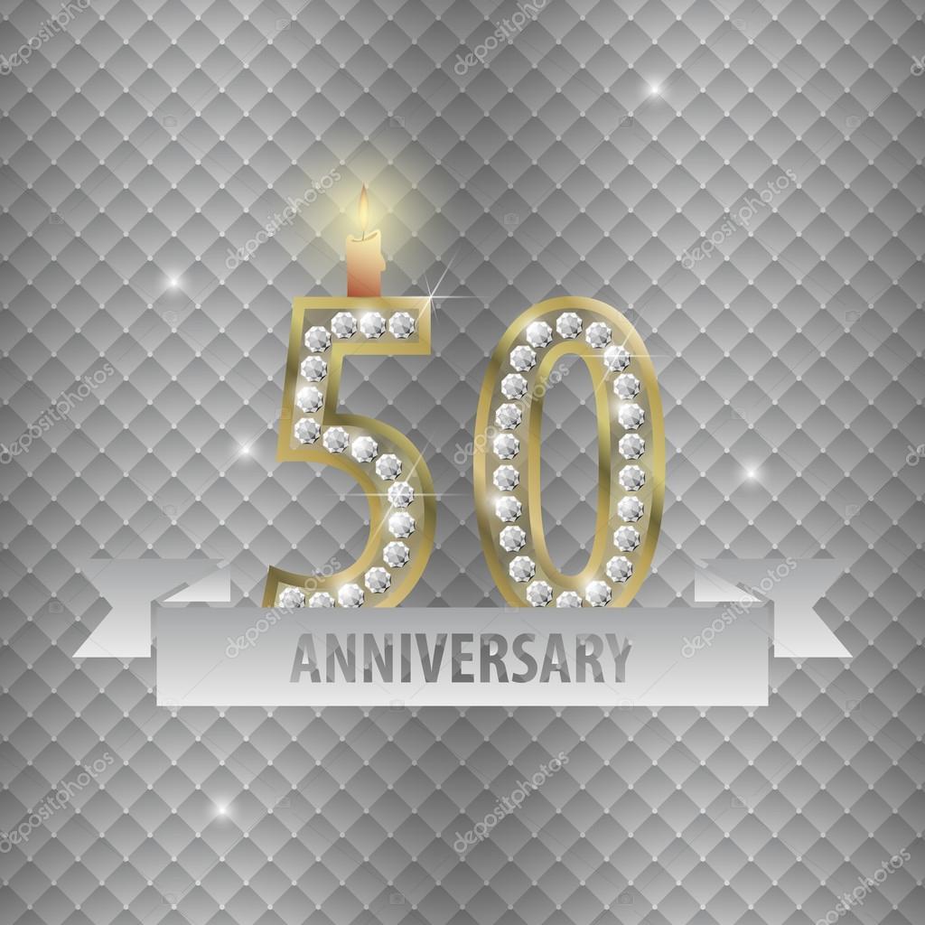 verjaardag vieren 50 jaar 50 jaar verjaardag vieren. Gouden stijl. vector — Stockvector  verjaardag vieren 50 jaar