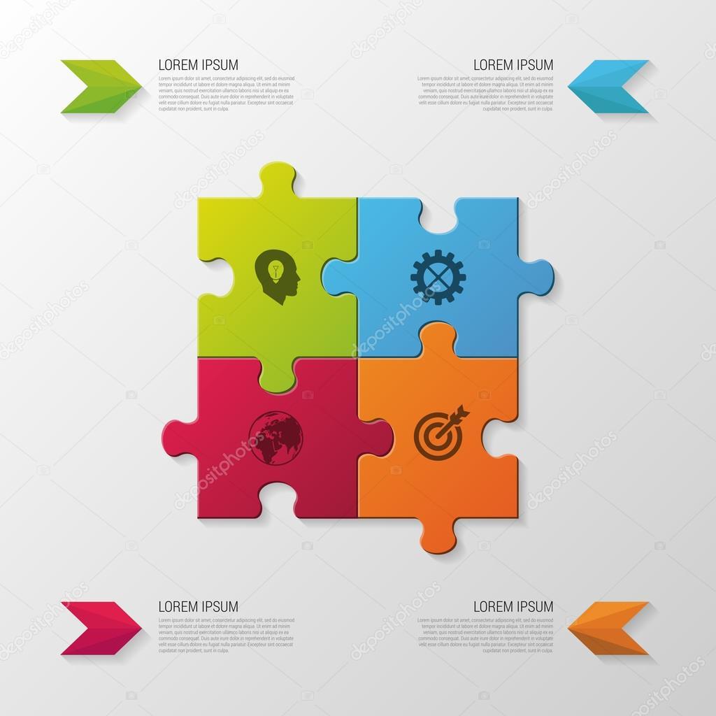 Pieza del rompecabezas. Concepto de negocio de infografía moderna ...