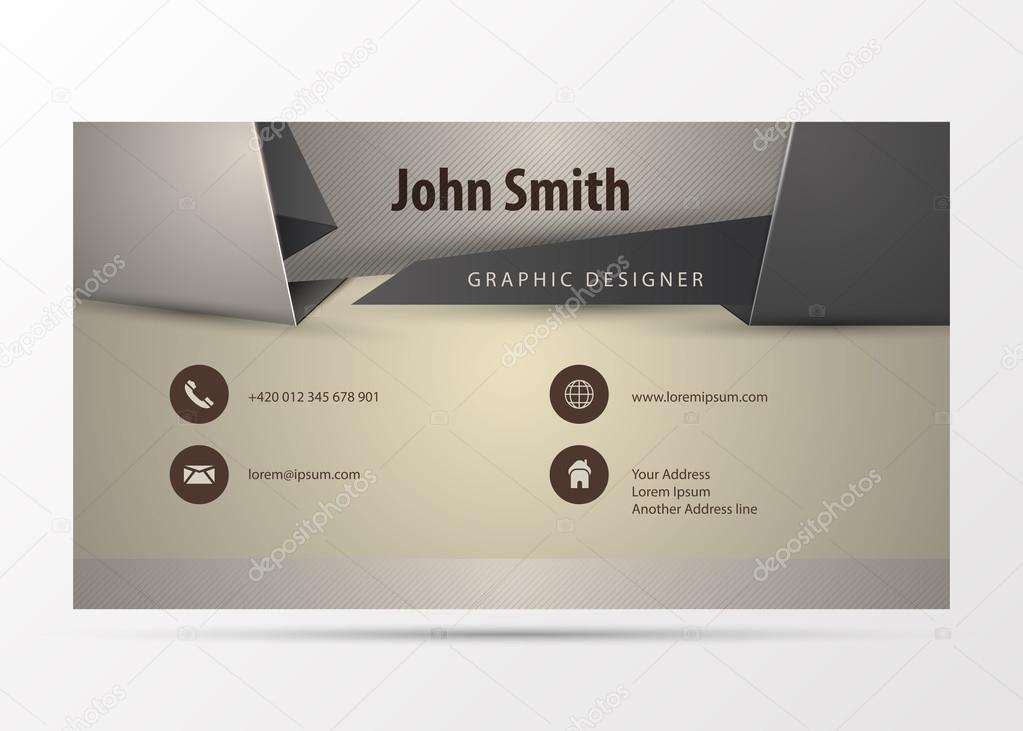 Modern Business Card Design Template Origami Style Vector