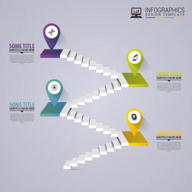 Infographics business staircase concept. Modern design template. Vector illustration