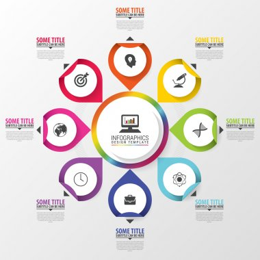 Infographic. Business concept. Colorful circle with icons. Vector illustration