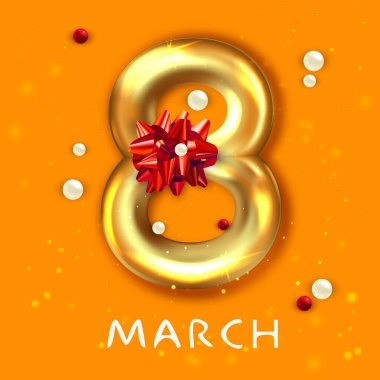 8 March banner. Flyer for the International Women's Day. Gold number 8 and decorative bow icon