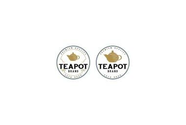 Vintage Retro Teapot for Tea Cafe Stamp Badge Label Logo Design Vector icon