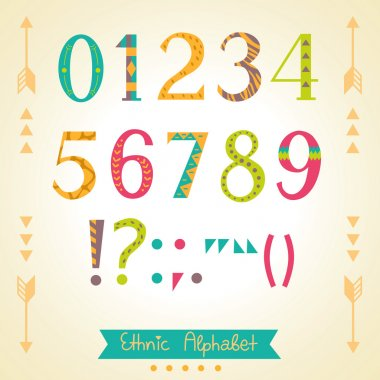 Colorful ethnic numbers