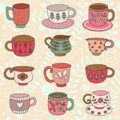 Pattern with tea cups