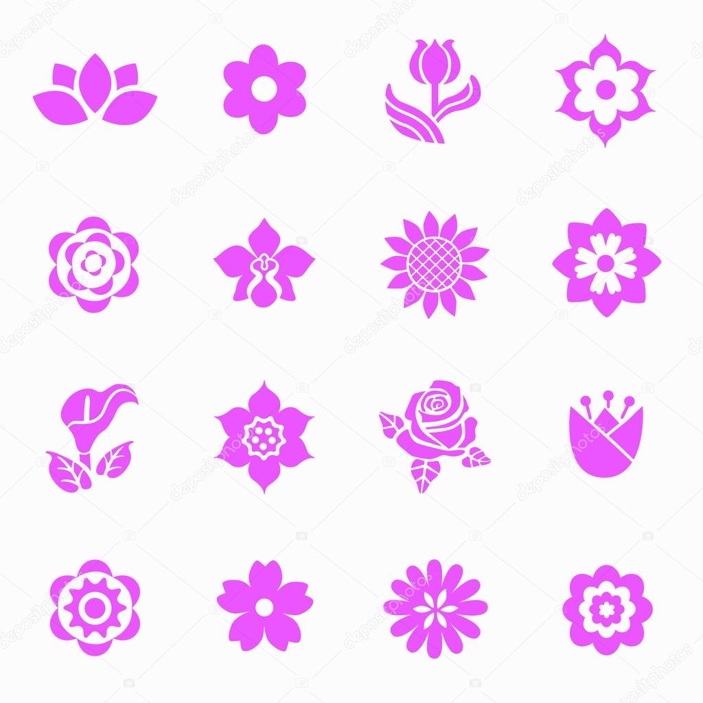 Flower icon set stock vector rimmarii 70514005 flower icon set stock vector 70514005 dhlflorist Images