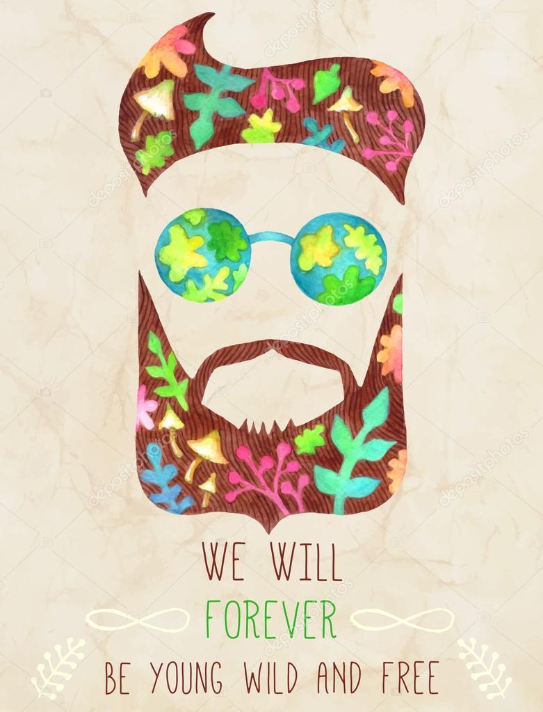 Hand gezeichneten Bart und Schnurrbart mit inspirierenden Zitat ...