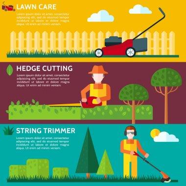 Gardener cutting a hedge