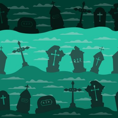 Halloween cemetery pattern with graves. Halloween holiday seamless pattern background. Spooky vector illustration for banner, poster, invitation or festive decoration. icon