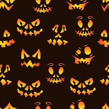 Halloween vector illustration. Seamless pattern with scary faces. Spooky character for banner, poster, invitation or festive decoration icon