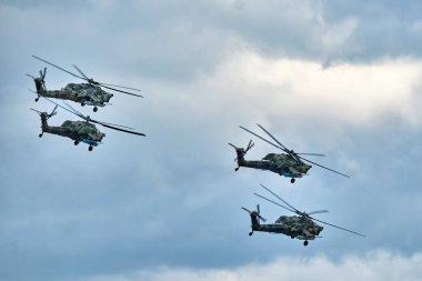 Mi-28 combat helicopter flight. MAKS 2021 International Aviation and Space salon.