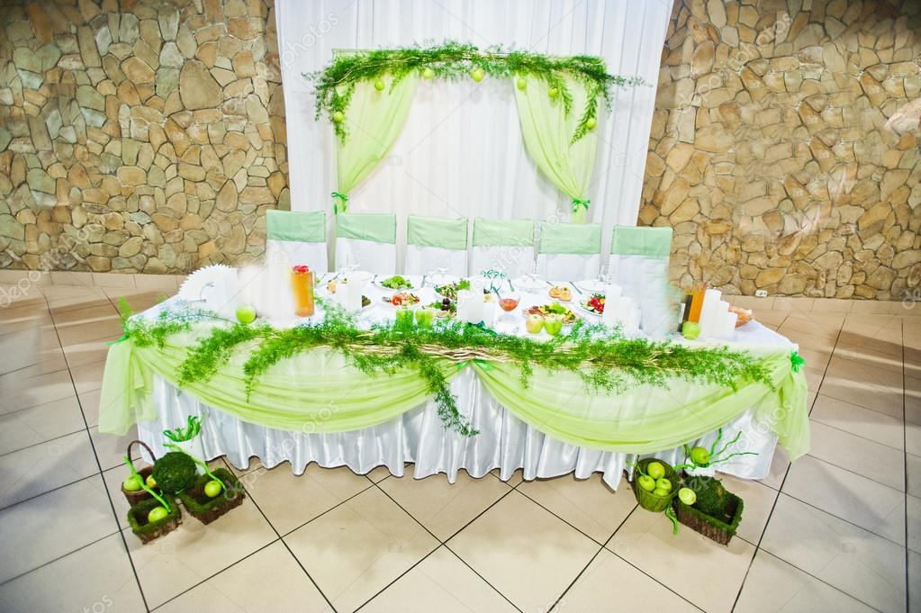 Wedding decor table with green apple style stock photo wedding decor table with green apple style stock photo junglespirit Image collections