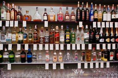 KYIV, UKRAINE - MARCH 25, 2016: Various alcoholic beverages bott