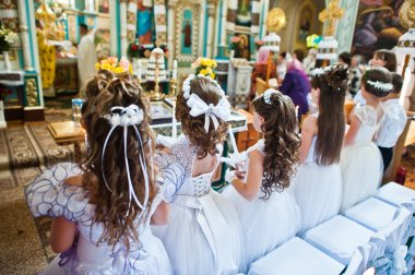 Mukyluntsi , Ukraine - 26 june, 2016: First holy communion.