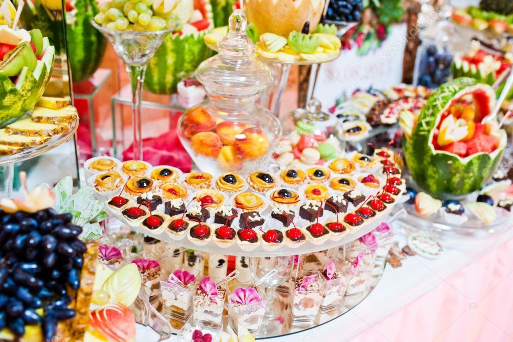 Wedding Reception Table With Fruits And Sweets Stock Photo