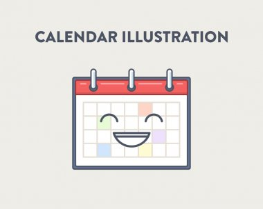Vector illustration of a simple, cute, smiling calendar, white background. Successful planning concept