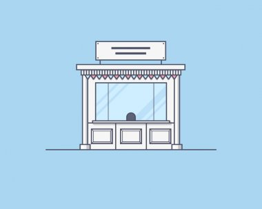 Vector illustration of a kiosk. Trading and market place concept. Illustration for web