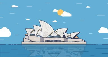 Poster with Sydney, Australia city landmark. Vector trendy illustration. Background that can be used as a postcard