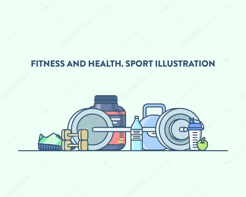 Time for sport and healthy lifestyle. Vector illustration of a gym equipment, light blue background. Sports, fitness, recreation concept