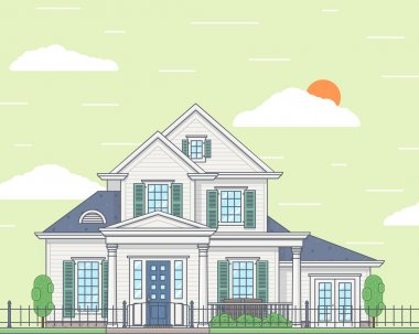 Vector illustration of a white family cozy house. View from the outside. Realty concept. Building and architecture, cottage