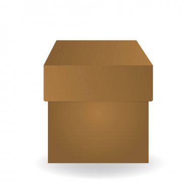 Cardboard, paper box. Postal parcel. Brown packging isolated on white background. Box mockup. Delivery box. icon