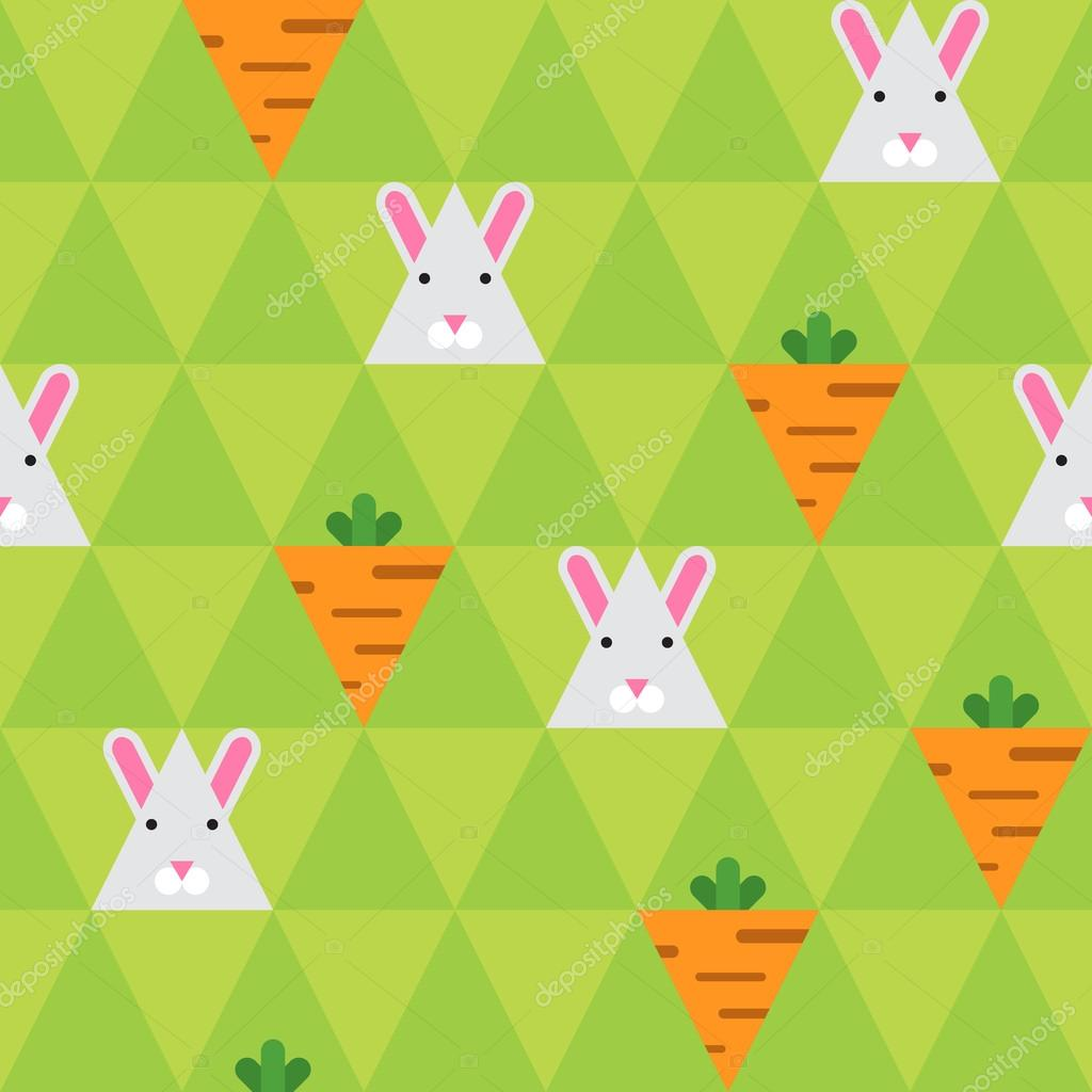 Rabbit And Carrot On The Green Triangle Background Stock Vector C Joulenc 111229588