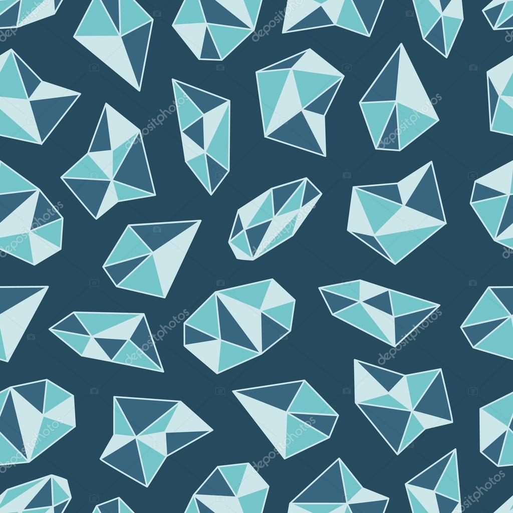 Geometric pattern with crystals in polygon style.