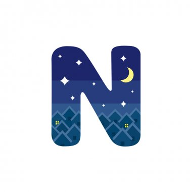 Letter N in the form of a night scene.